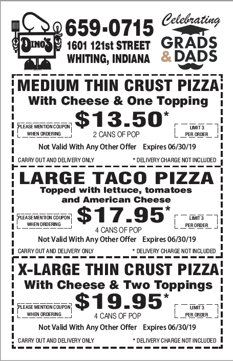 Dino's Monthly Coupon Specials June 2019