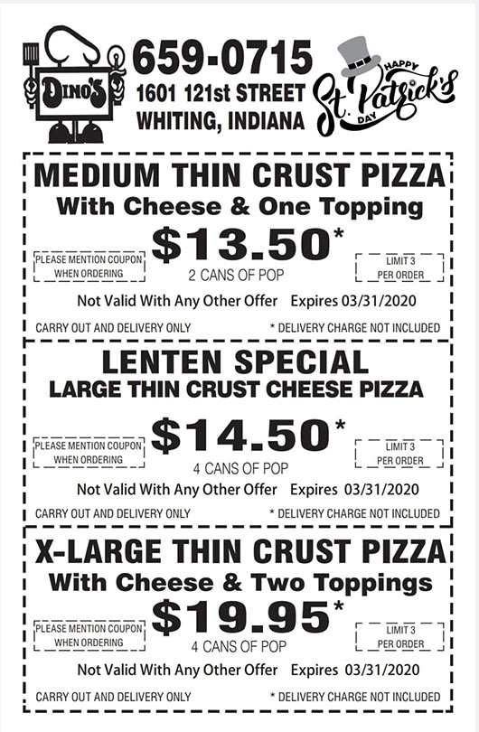 Dino's Monthly Coupon Specials March 2020
